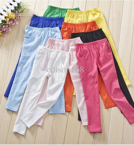 Nya barn flicka godis färgpennor byxor täta skinny byxor långa byxor med ficka 9 färger KZ77