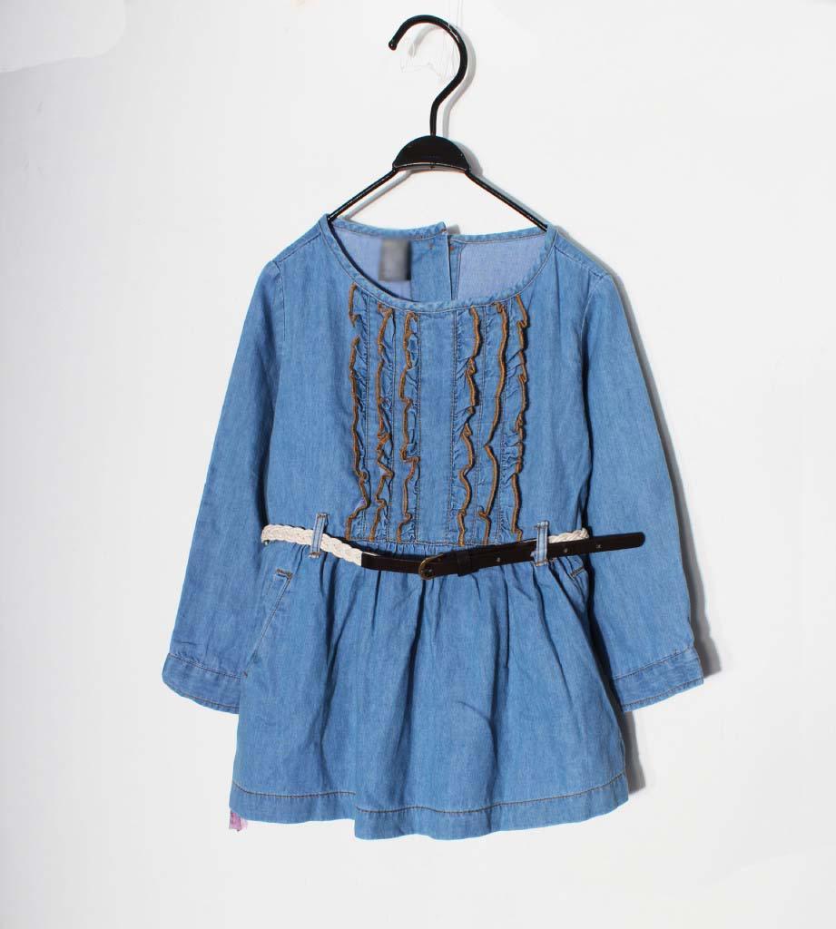 2016 Girls Denim Ruffle Dresses Jean Skirts With Belt Soft Denim ...