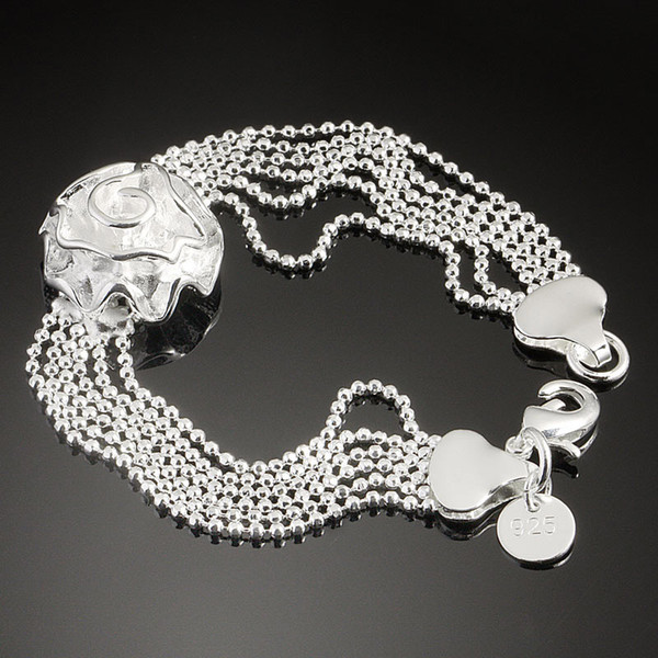 2013Fashion Womens Bracelet Flower Shining Noble Silver 925 Jewelry Romantic Hand Chain 5pcs Lot S46