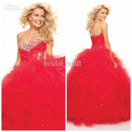 Wholesale Cheap Bright Dresses - 2015 Red Lovely Prom Dresses Beads Ruched Organza Puffy Formal Dress Ball Gown Bright Red empire quinceanera gowns cheap ruffles AG152