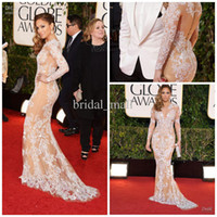 Wholesale Dress Golden Brown Color - 70th Gold Globe Awards red carpet celebrity dresses Long Sleeve white lace nude Mermaid Sweep Train Applique V Neck Evening Gowns