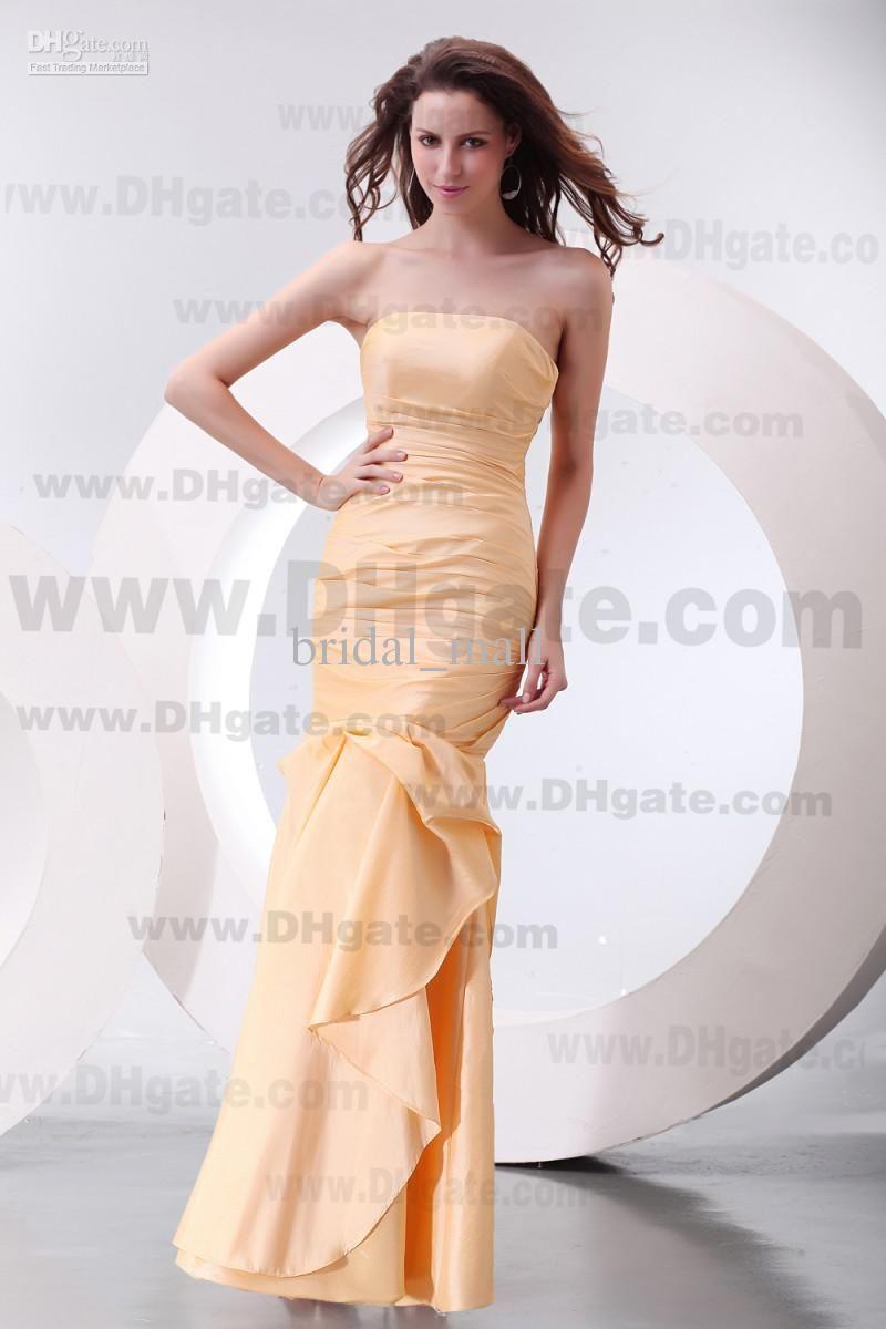 Fashion Designed Strapless Ruffle Mermaid Yellow Evening Dresses Long Prom Dresses