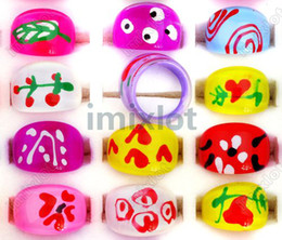 Wholesale Mexican Paint - Fashion Jewelery Lots 500pcs Mix Colors Painting Chunky Resin Lucite Kids Children Rings [KR02*500]