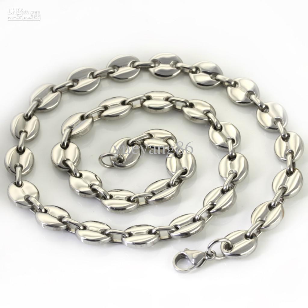1 stks 11mm hoogwaardige unieke mannen sieraden zilver roestvrij staal mooie koffiebonen ketting nckelace