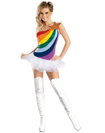 Wholesale Sexy Cosplay Fairy - Cosplay Sexy Angel & Fairy Tale Costumes For Womens Rainbow Girl Adult Costumes One Shoulder Tulle Tutu Mini Dance Dress Outfits