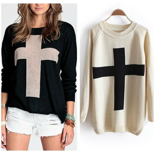 2018 New Fashion Womens Cross Pattern Knit Sweater Outerwear Crew ...