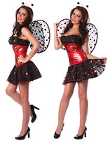 Wholesale Sexy Cosplay Fairy - Cosplay Fairy Costumes For Women Sexy Cute Ladybug Costume Set Polka Dot Top Strapless Mini Dress Outfit O31173