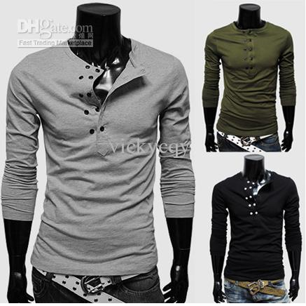 Wholesale New 2013 Long Sleeve T Shirts Mens T Shirts Casual Slim ...