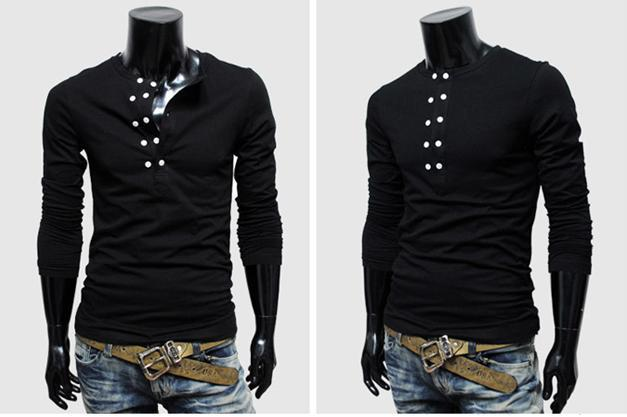 Wholesale New 2013 Long Sleeve T Shirts Mens T Shirts Black Color ...