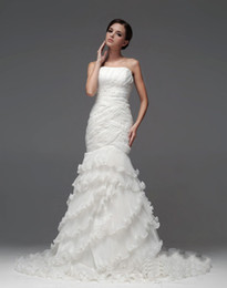 Wholesale Unique Ruffle Wedding Dress - Sexy Unique design Strapless Empire Bodice Ruffle Organza Mermaid Wedding Dresses Wedding Gowns