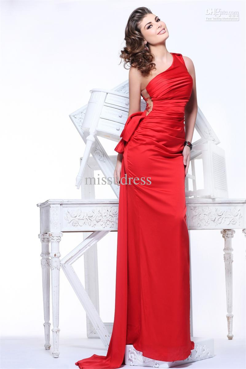 Fashonable One Shoulder Appliqued Flower Bow Elastic Satin Formal Evening Gowns Prom Dress New Dress