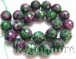 Wholesale Ruby Zoisite - 8SE09492a 16mm Ruby Zoisite Faceted Round beads 15.5''