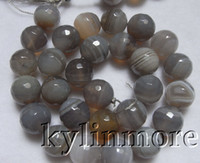Wholesale 14mm Agate Beads - 8SE09169a 14mm Botswana Agate Faceted Round Beads 15.5''