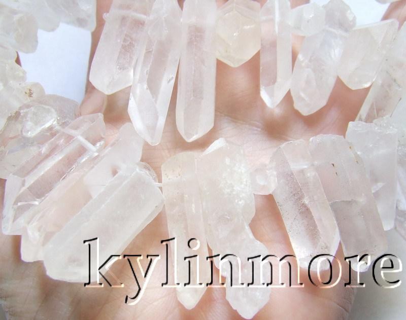 8SE09446a 7x25-10x45mm Contas de Cristal Branco Natural Áspero 15.5 ''