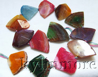 Wholesale Faceted Gemstones - 8SE09220a 27x37-30-x40mm Fire Agate Faceted Triangle Beads 15''