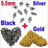 Wholesale Silver Metal Bullet Rivet Spikes - 9.5mm 100PCS Silver + 100PCS Gold + 100PCS Black Metal Bullet Rivet Spikes Stud Punk Bag Belt