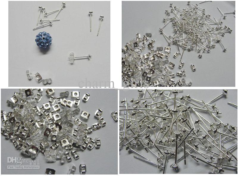 300set 925 silver plated earring Ear cap & Ear Needle DIY half hole beads  earrings accessories
