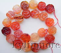 """Wholesale Gemstone Coin Beads - 8SE01141a 16MM Carnelian Carved Flower Coin Beads 15.8"""""""