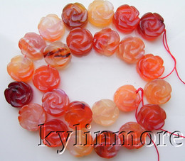 Wholesale Gemstone Coin Beads - 8SE01141a 16MM Carnelian Carved Flower Coin Beads 15.8""