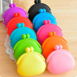 Wholesale Candy Soft Silicone Purse - 2015 hot sales silicone   purse wallet  Jelly color   soft wallet   cosmetic bag   Christmas candy bag 20PCS lot