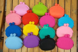 Wholesale Silicone Bag Jelly - 2016 new fashion silicone purse wallet Jelly color soft wallet cosmetic bag Christmas candy bag 10PCS new