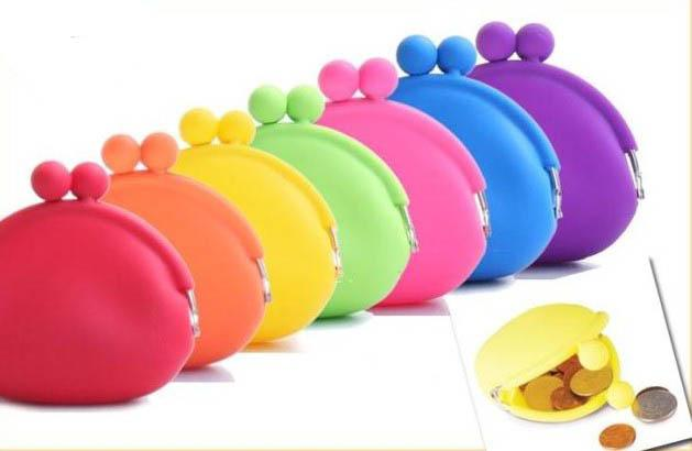 2015 hot sales silicone / bolsa carteira / geléia cor / carteira macia / saco cosmético / saco de doces de natal 20 Pçs / lote