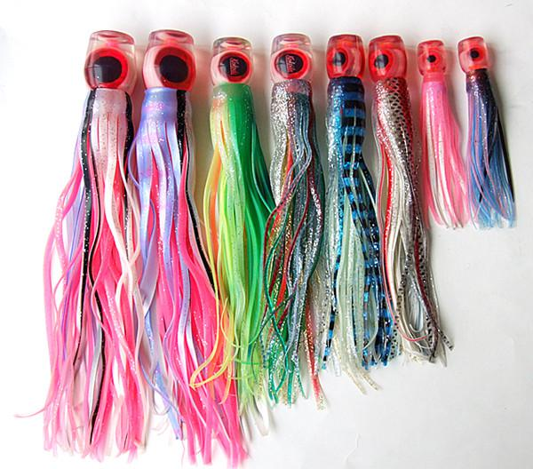 """Octopus Lure Big Game Bait Trolling Lure Tuna Lure Fishing tackle Soft Skirt Bait Soft Head Double Skirt 9.5"""" 8.5"""" 7.5"""""""