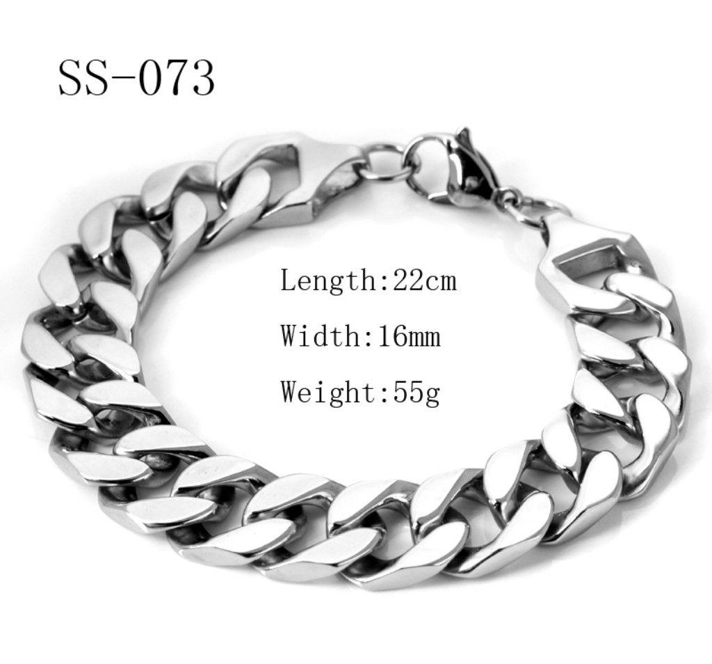 Gratis fartyg Högkvalitativa stora mäns gjutning Rostfritt stål Curb Shining 22cm Armband Bangle SS - 073