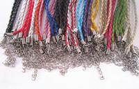 ayarlanabilir deri kord bezler toptan satış-7-9inch ayarlanabilir karışık renkler (16 renk) örgülü deri kordon bilezik 3.0mm 100 adet / grup