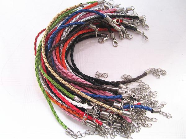 7-9inch регулируемых смешанных цветов 16 цветов плетеный кожаный шнур браслет 3.0 мм 100 шт. / Лот