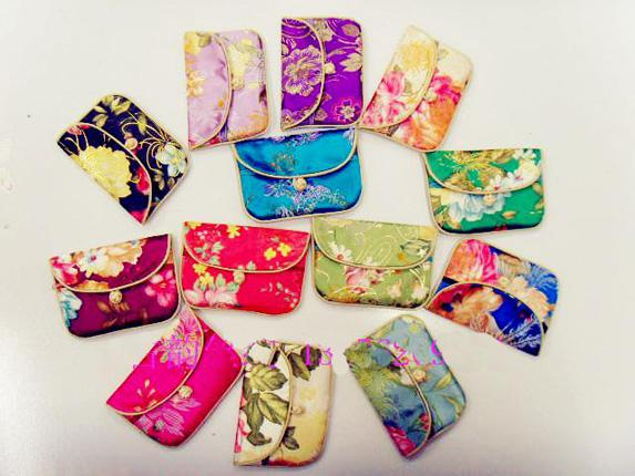 Silk Fabric Jewellery Pouches Wholesale Small Chinese knot Packaging Bags 50pcs/lot mix color Free
