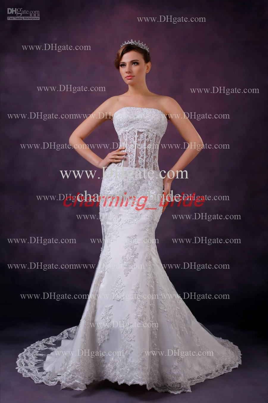 2013 Fall Sexy Elegant Mermaid Wedding Dresses Strapless Lace Corset ...