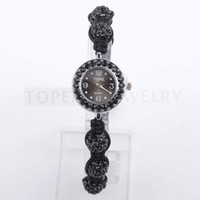 Wholesale Disco Watches - Free shipping!Black Crystal Studded Disco Ball Bracelet Quartz Watch WJ1925