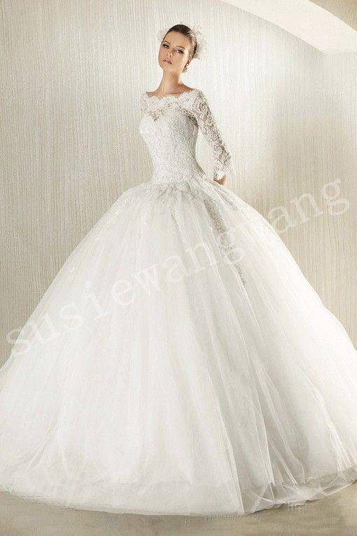 2013elegant Retro Long Sleeve Lace Ball Gown Sweetheart Neckline