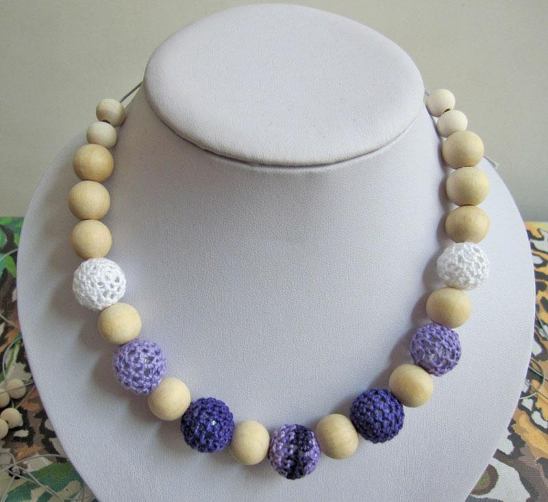 Mommy Organic Teething bead necklace Nursing necklace , Crochet Necklace romantic purple NW471
