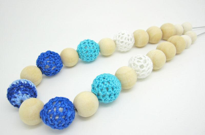 Mommy Organic Teething bead necklace Nursing necklace , Crochet Necklace blue white navy sea NW468