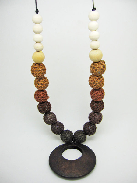 Mommy Organic Teething bead necklace Nursing necklace , Crochet Necklace coffee wooden ring NW475