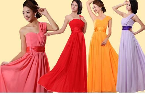 Nieuwe Goedkope Elegante One-Shoulder Chiffon Kleurrijke Knielengte Bruidsmeisjesjurken / Bruiloft Jurken