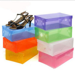 Wholesale Transparent Shoe Box Organizers - Retail Transparent Womens Stackable Crystal Clear Plastic Shoe Storage Boxes