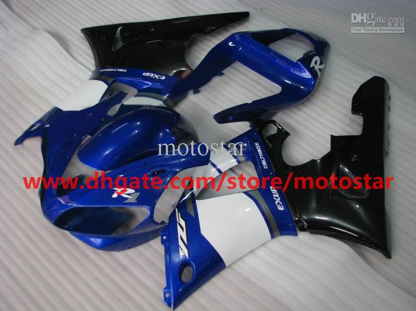 Blue white black For YAMAHA 2000 2001 YZF-R1 00 01 YZFR1 YZF1000 YZF R1 fairing kit
