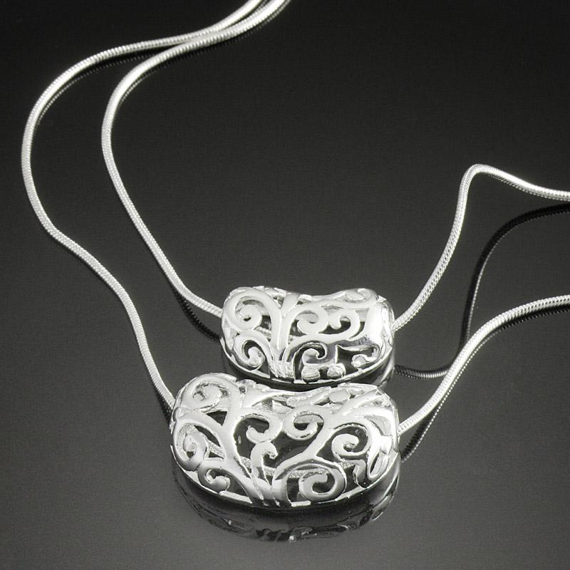 Costume 925 Silver Jewelry Necklace Charm Double-deck Hollow Out Pendant Fashion Women Necklace Cheap China Wholesale Or In Bulk