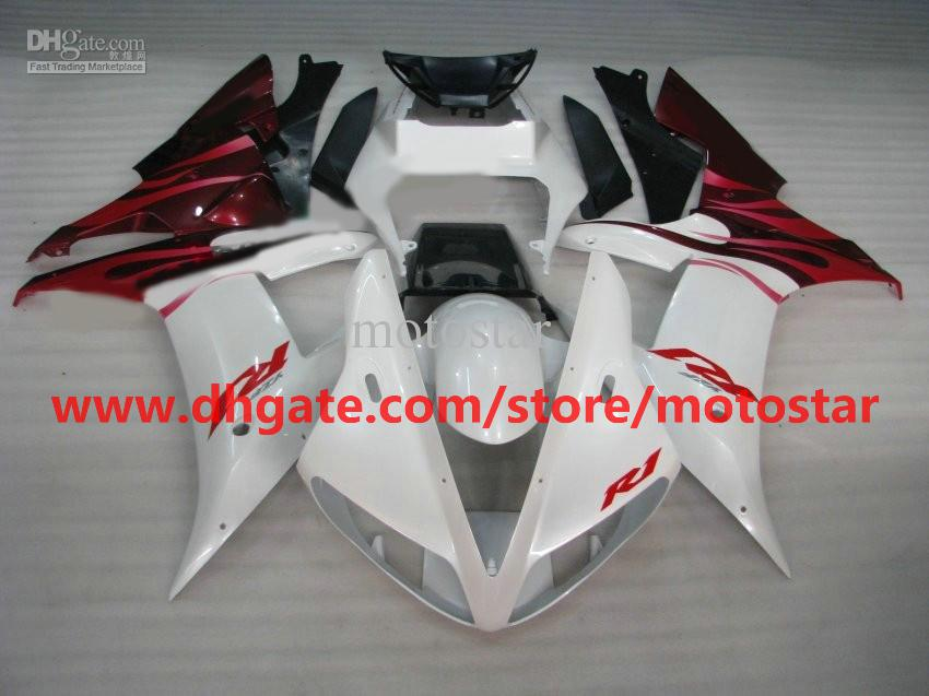 Pearl white/red fairings for YAMAHA 2002 2003 YZF-R1 02 03 YZFR1 YZF1000 YZF R1 fairing kit R183