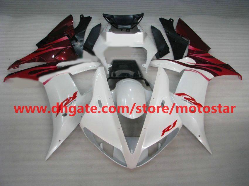 Pearl white/red fairings for YAMAHA 2002 2003 YZF-R1 02 03 YZFR1 YZF1000 YZF R1 fairing kit R183
