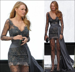 Gossip Girl fashion Blake Lively fashion Zuhair Murad Grey Long Sleeves Prom Dresses Full Lace Beaded Evening Gowns Celebrity Dress on Sale