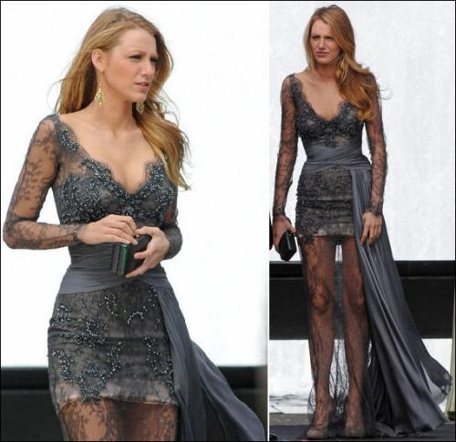 Gossip Girl fashion Blake Lively fashion Zuhair Murad Grey Long Sleeves Prom Dresses Full Lace Beaded Evening Gowns Celebrity Dress