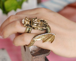 Wholesale Huge Vintage Jewelry - Vintage Gothic Green Eyes Crystal Wing huge dragon rings Retro double Ring Jewelry JR008