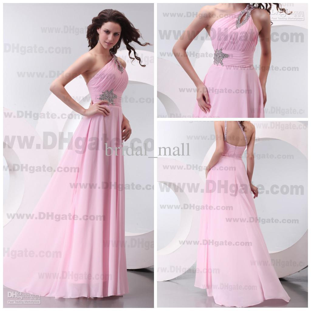 2015 cheap beaded one shoulder natural waist pink bridesmaid see larger image ombrellifo Image collections