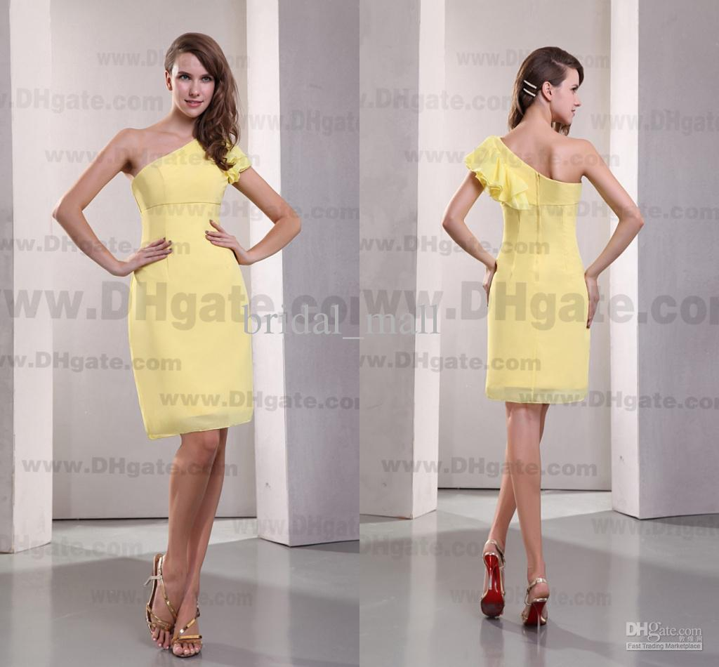 Knee length cap sleeve one shoulder yellow bridesmaid dresses knee length cap sleeve one shoulder yellow bridesmaid dresses short chiffon lady formal dress bm744 evening gowns wedding guest dresses from bridalmall002 ombrellifo Images