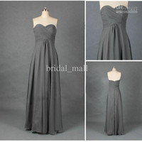 Wholesale Cheapest Red Strapless Dress - 2015 Cheapest Bridesmaid Dresses Strapless Floor Length Dark Gray Bridesmaid Dress long Sleeveless A-line Lady's Formal Gowns TB101