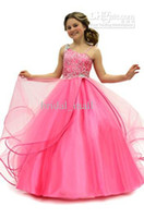 Wholesale Cheapest Girls Dresses - 2015 Cheapest Flower Girls Dresses beaded organza ball gown pink girl's formal dresses flower girl dress Little Girls Pageant Dress BM912